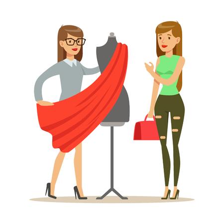 Vrouw en ontwerper die stof voor kleding, een deel kiezen die van het Gebruiken van en het Maken van de Professionele Reeks van de Dienst Vectorillustraties gebruiken Stockfoto - 75477804