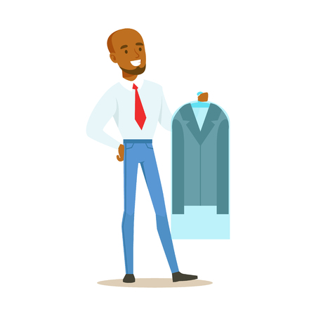 dry cleaner: Man Taking Back Clean Jacket Sealed In Plastic, Part Of People Using Clothing Dry Cleaning Professional Service Set Of Vector Illustrations