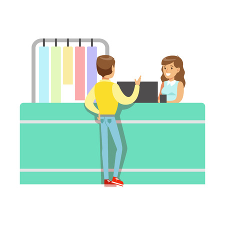 Client And Worker At Dry-Cleaning Counter, Part Of People Using Clothing Dry Cleaning Professional Service Set Of Vector Illustrations