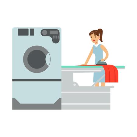 Frau Bügeln Wäsche, Teil der Menschen mit automatischen Self-Service Waschsalon Waschmaschinen von Vektor-Illustrationen Standard-Bild - 75478603