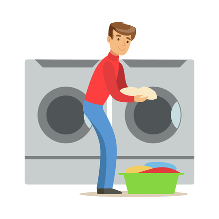 Guy Loading Dirty Laundry, Part Of People Using Automatic Self-Service Laundromat Washing Machines Of Vector Illustrations Vektorové ilustrace