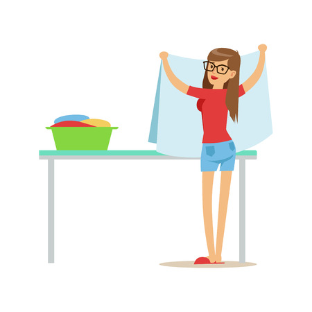 Woman Folding Clean Laundry, Part Of People Using Automatic Self-Service Laundromat Washing Machines Of Vector Illustrations