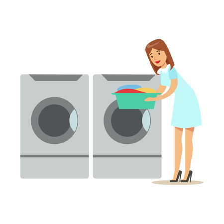 Woman Taking Out Clean Laundry, Part Of People Using Automatic Self-Service Laundromat Washing Machines Of Vector Illustrations