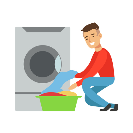 Man Taking Out Clean Laundry, Part Of People Using Automatic Self-Service Laundromat Washing Machines Of Vector Illustrations