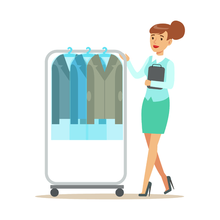 dry suit: Woman Employee Rolling A Rail With Clean Suit Jackets, Part Of People Using Clothing Dry Cleaning Professional Service Set Of Vector Illustrations Illustration