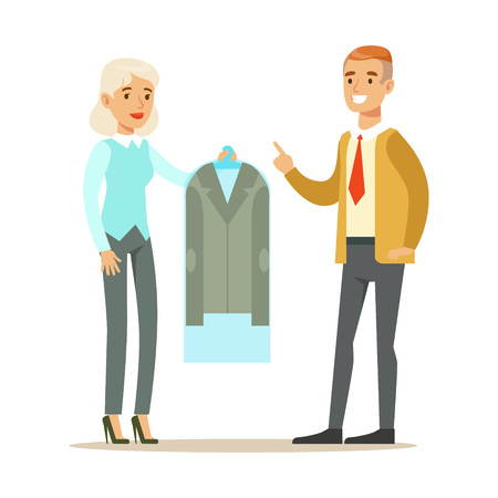 Woman Employee Giving A Clean Suit Jacket To Man Client, Part Of People Using Clothing Dry Cleaning Professional Service Set Of Vector Illustrations