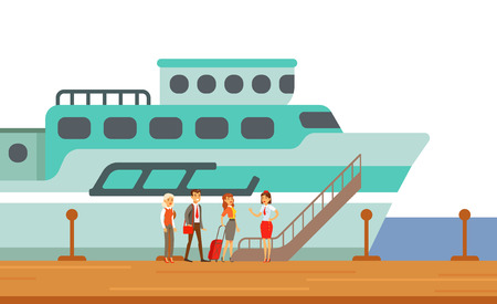 Passengers Boarding Touristic Liner Ship, Part Of People Taking Different Transport Types Series Of Cartoon Scenes With Happy Travelers