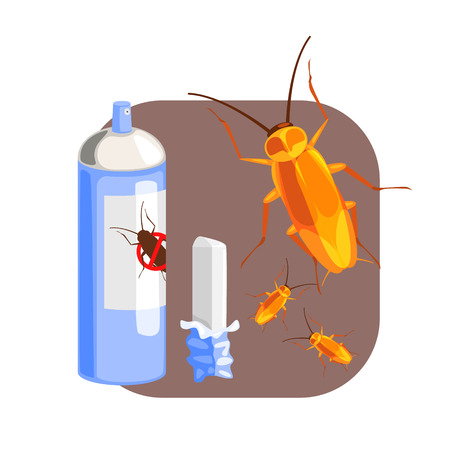 Can of cockroach insecticide and piece of chalk for the destruction of cockroach. Colorful cartoon illustration Иллюстрация