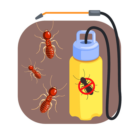 Pressure sprayer for extermination of termites and ants. Colorful cartoon illustration Illustration
