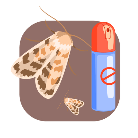 Can of moth insecticide. Colorful cartoon illustration Illustration