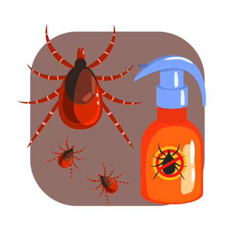 Orange sprayer of mite or tick insecticide and tick parasite. Colorful cartoon illustration Illustration