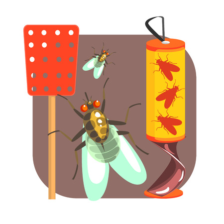 disgusting animal: Yellow sticky tape for flies and red fly swatter. Colorful cartoon illustration