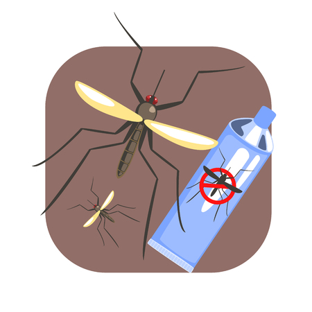 Mosquito insect and mosquito repellent spray blue can. Colorful cartoon illustration Illustration