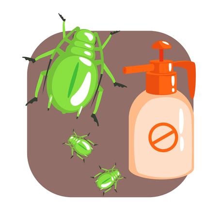 Orange sprayer bottle of green longhorn beetle insecticide. Colorful cartoon illustration