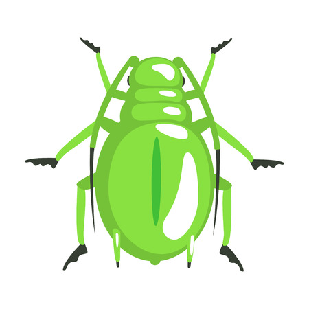 Green longhorn beetle colorful cartoon character