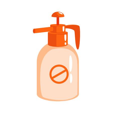 Orange sprayer bottle of insecticide. Colorful cartoon illustration