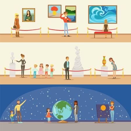 Visitantes del museo que toman un viaje del museo con y sin una guía que mira el arte y la ciencia Exposiciones Serie de ilustraciones Ilustración de vector