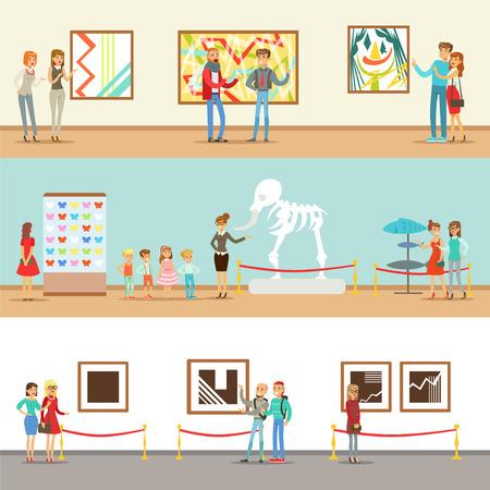 Visitantes del museo que toman un recorrido por el museo con y sin guía mirando exposiciones de arte y ciencia Ilustración de vector