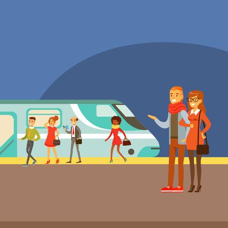 プラットフォームに列車の到着を待っているカップル、一連の幸せな旅行と漫画のシーンの種類のパーツを異なるトランスポートを取っている人々   イラスト・ベクター素材