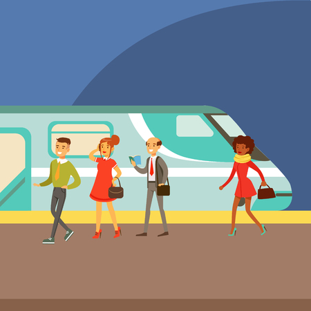 Passengers Boarding A Train At The Platform, Part Of People Taking Different Transport Types Series Of Cartoon Scenes With Happy Travelers