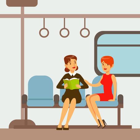 Dos mujeres sentadas en el tren de tren del metro, parte de la gente tomando diferentes tipos de transporte Serie de escenas de dibujos animados con los viajeros felices Foto de archivo - 75479814