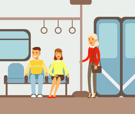 Passengers On Their Places In Metro Train Car, Part Of People Taking Different Transport Types Series Of Cartoon Scenes With Happy Travelers Illustration