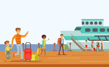 Passengers Boarding Large Ship, Part Of People Taking Different Transport Types Series Of Cartoon Scenes With Happy Travelers