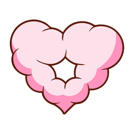 Pink heart shaped cloud. Colorful cartoon illustration
