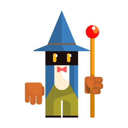 Cute cartoon garden gnome. Fairy tale, fantastic, magical colorful character Illustration