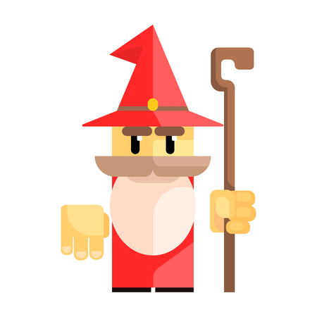 Cute cartoon gnome in a red hat with a staff in his hands. Fairy tale, fantastic, magical colorful character