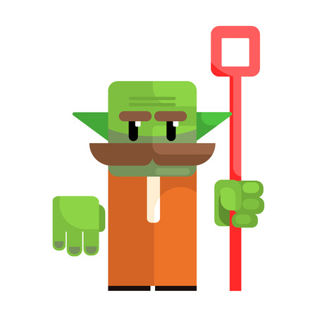 Dwarf with a green face and a staff in his hands. Fairy tale, fantastic, magical colorful character Stock Vector - 75646157