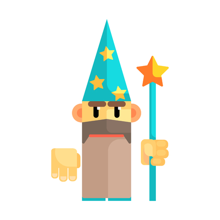 Gnome wizard in blue hat with stars and staff in his hands. Fairy tale, fantastic, magical colorful character Illustration