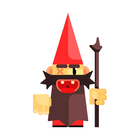 Dwarf in a red hat grimly grins. Fairy tale, fantastic, magical colorful character Illustration
