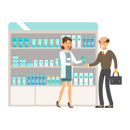 Man Teacher In Pharmacy Choosing And Buying Drugs And Cosmetics, Part Of Set Of Drugstore Scenes With Pharmacists And Clients Illustration