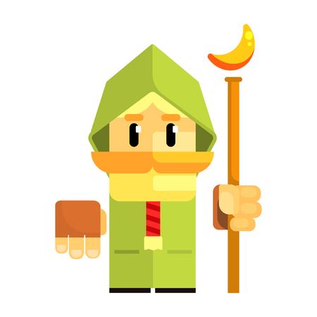 Cartoon dwarf in a green cape with staff in his hands. Fairy tale, fantastic, magical colorful character Stock Vector - 75708553