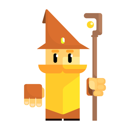 Cute cartoon gnome in a brown hat with a staff in his hands. Fairy tale, fantastic, magical colorful character