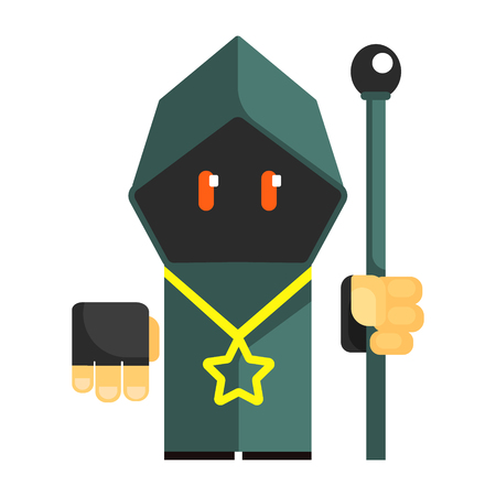 Cartoon mysterious gnome in a gray cape with glowing eyes. Fairy tale, fantastic, magical colorful character