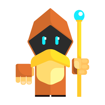 Cartoon gnome in a cape with glowing eyes holding staff in his hands. Fairy tale, fantastic, magical colorful character