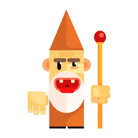 Cartoon angry dwarf holding staff in his hands. Fairy tale, fantastic, magical colorful character Illustration
