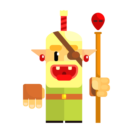 Cheerful cartoon gnome pirate. Fairy tale, fantastic, magical colorful character Illustration