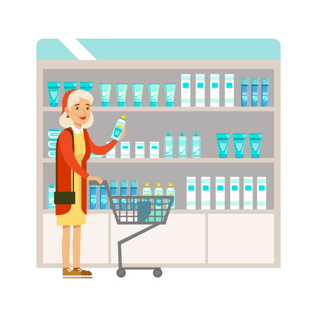 Old Lady In Pharmacy Choosing And Buying Drugs And Cosmetics, Part Of Set Of Drugstore Scenes With Pharmacists And Clients Illustration