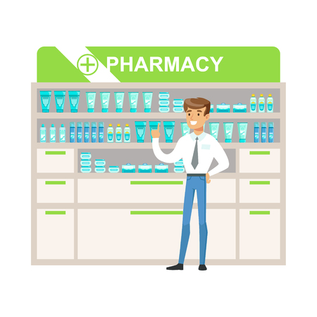 purchasing manager: Man Manager In Pharmacy Choosing And Buying Drugs And Cosmetics, Part Of Set Of Drugstore Scenes With Pharmacists And Clients