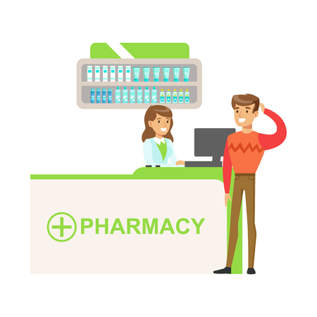 Man In Sweater In Pharmacy Choosing And Buying Drugs And Cosmetics, Part Of Set Of Drugstore Scenes With Pharmacists And Clients