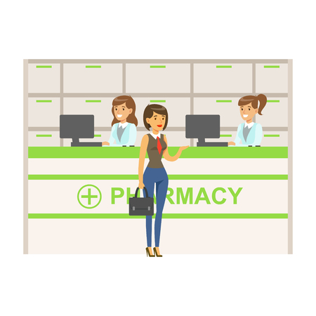 Woman In Vest And Tie In Pharmacy Choosing And Buying Drugs And Cosmetics, Part Of Set Of Drugstore Scenes With Pharmacists And Clients