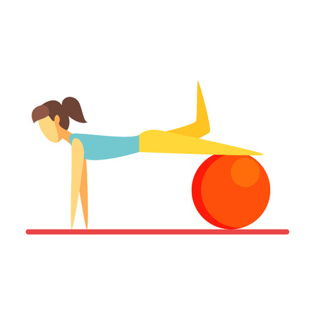 Young slim brunette woman exercising with an orange fitball. Colorful cartoon character