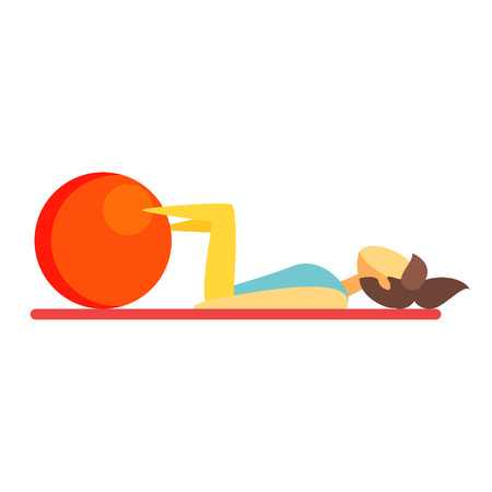 Young brunette woman doing fitness exercise on an orange fitball. Colorful cartoon character Illustration