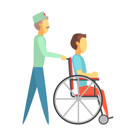 Male doctor pushing disabled man sitting on wheelchair. Colorful cartoon characters Illustration
