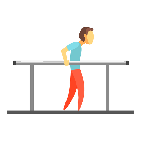 Man exercising on uneven bars. Colorful cartoon character Illustration