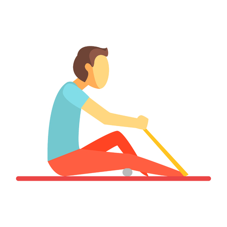 Człowiek siedzi na matę i ćwiczenia z gumką i małą piłkę. Kolorowy postać z kreskówki