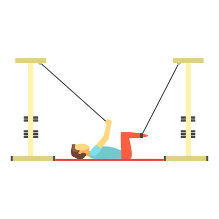 Man doing exercises using special ropes for intense body training, trx training. Colorful cartoon character